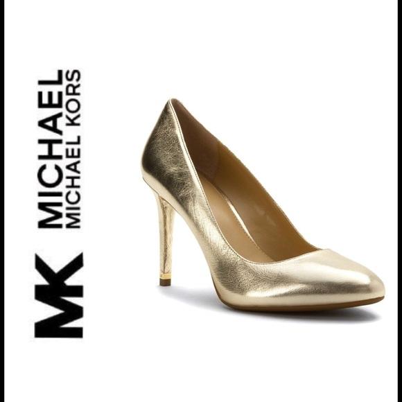 921f40f70eb Michael Kors Ashby Flex Gold Metallic Heels sz. 9 NWT